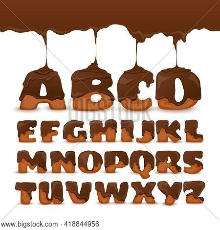 Melting Chocolate Ginger Cookies Letters Frosting Poster With Appetizing Mouth Watering Alphabet For