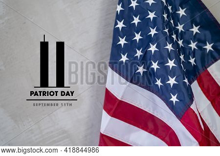 Always Remember 9 11, Patriot day. Black American or USA flag with the twin towers on gray background. Remembering, We will never forget, the terrorist attacks of september 11
