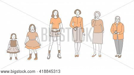 Cycle Of Woman Life Vector Cartoon Outline Illustration. Female Character Growing Up And Aging. Cute