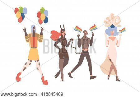 Lgbtq Pride Vector Flat Illustration. Queer Men And Women In Colorful And Leather Clothes With Lgbt