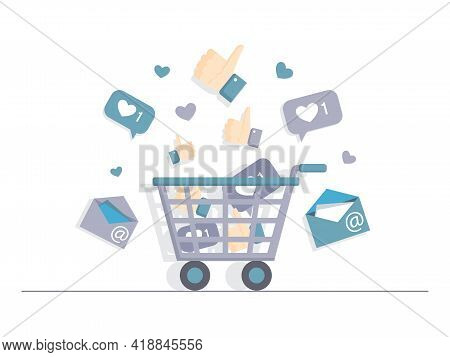 Shopping Cart Full Of Likes, Emails, And Hearts Vector Flat Illustration Isolated On White Backgroun