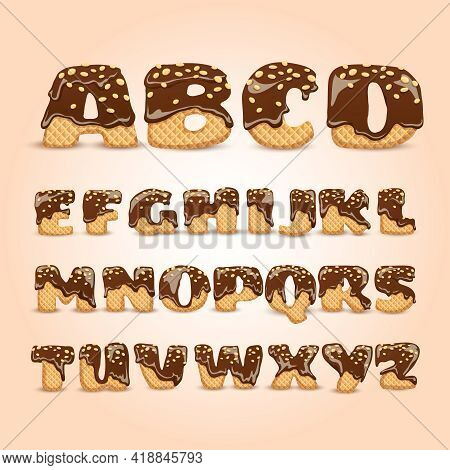 Frosted Chocolate Sprinkled Waffles Letters Sweet Alphabet Dessert For Kids Pictograms Collection  P