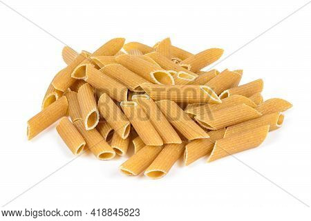 Heap Of Raw Penne Pasta Isolated On White Background With Clipping Path