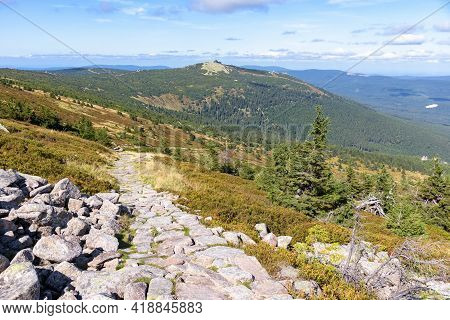 Trail To The Shelter Under Labski Szczyt Mountain With Szrenica Mountain Int He Background In Polish