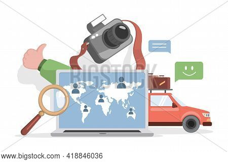 Planning Summer Vacation With Car Vector Flat Illustration. Organizing Touristic Journey On Rent Aut