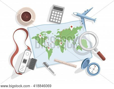 World Map With Location Points Vector Flat Illustration. Planning Summer Vacation, Journey Vector Fl