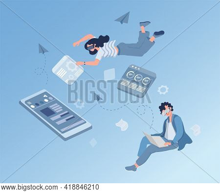 Man And Woman In Virtual Glasses Working And Surfing On The Internet, Touching Interface And Setting