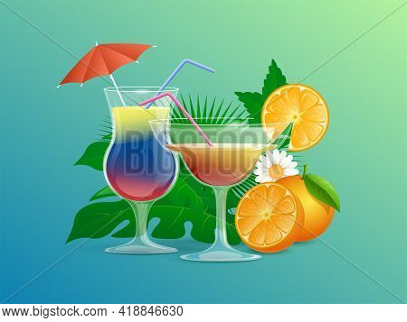 Colorful Summer Cocktails Decorated With Straws, Cocktail Umbrellas, Flowers, And Sliced Oranges Vec