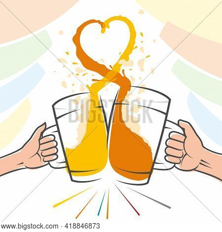 Clink glasses with beer for cheers. Splashes create a love heart shape. Hands of a man and a woman are holding beer mugs. Banner for Beer fest Oktoberfest. Wide contour lines. Vector illustration.