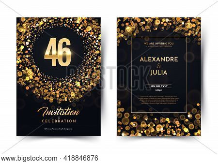 46th Years Birthday Vector Black Paper Luxury Invitation Double Card. Forty Six Years Wedding Annive