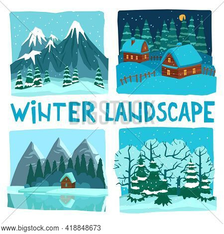 Winter Landscape In Digital Graphic Or Video Game Style Flat Color Concept Isolated Vector Illustrat