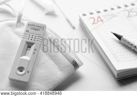 Week Planner, Schnelltest, Rapid Corona Test In German Language. Week Planner Calendar And Pp2 Medic