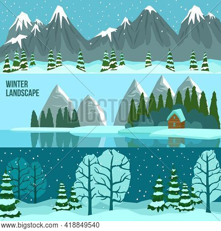 Three Horizontal Flat Banners Set Of Winter Landscape With Panoramas Of Mountains Lake And Forest Ve