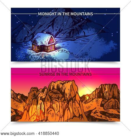 Sketch Style 2 Banners Presenting Winter Midnight In Mountains And Sunrise In Like Canyon Mountains