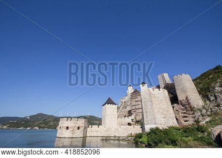 Golubac Fortress (golubacka Trvdjava, Or Goluback Grad) Seen From Dunav River. The Golubac Castle Wa
