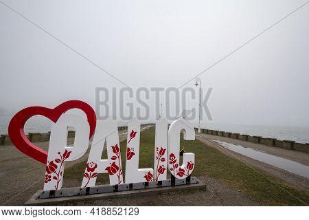 Palic, Serbia - November 18, 2020: Sign Indicating Palic Lake, In Subotica, Serbia During An Autumn