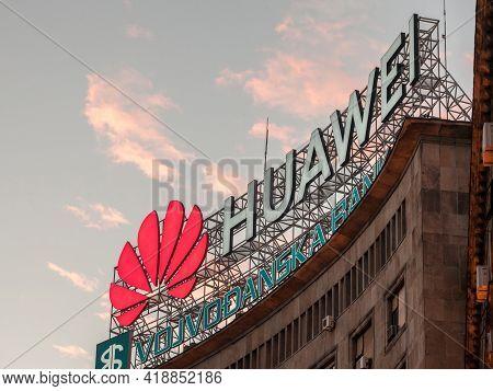Belgrade, Serbia - January 9, 2021: Huawei Logo On Their Office For Serbia In Belgrade. Huawei Techn