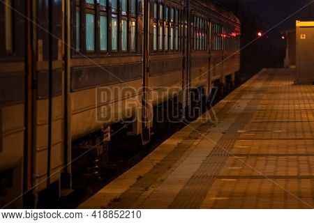 Selective Blur On The Doors Of A Suburban Train Of A Commuter Train Station Of Belgrade, Serbia, On