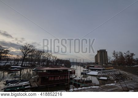 Pancevo, Serbia - December 23,2018: Panorama Of The Tamis River, On Pancevo Waterfront In The Center