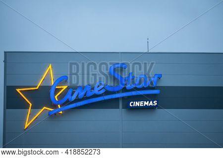 Belgrade, Serbia - January 9, 2021: Cinestar Logo On Their Main Cinema For Serbia. Cinestar Is An Ge