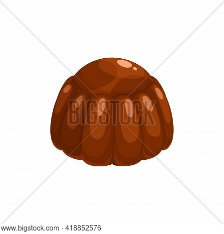 Chocolate Candy, Sweet Dessert Praline Comfit, Vector Isolated Icon. Chocolate Box Confection Variet