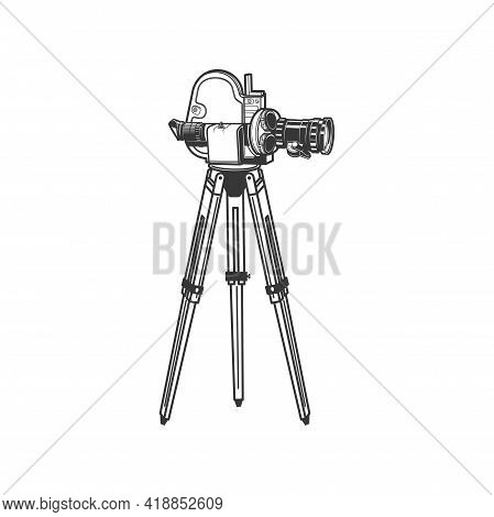 Cinematography And Motion Picture Equipment, Retro Movie Camera On Tripod Isolated Monochrome Icon.