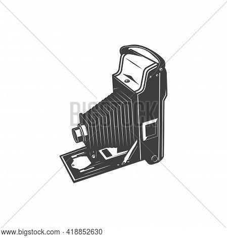 Folding Photocamera Isolated Photo Shooting Device Monochrome Icon. Vector Pld Photocamera, Photogra