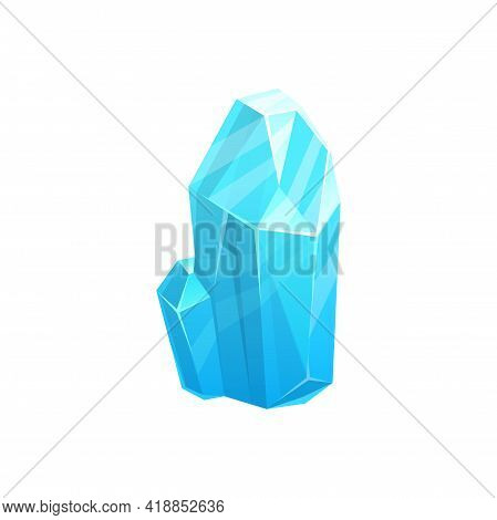 Crystal Ice, Iceberg Rock Or Frozen Glass And Snow, Vector Isolated Icon. Glacier Of Frozen Water Or