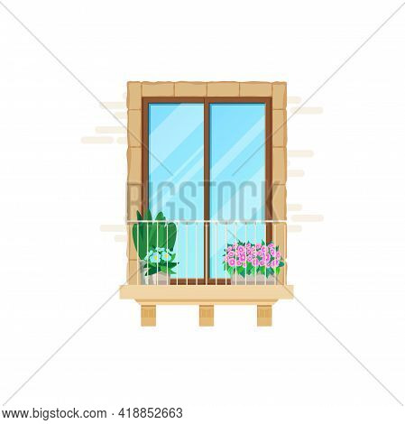 Balcony And House Window, Building Classic Flat Facade, Vector Architecture. Apartments Balcony With