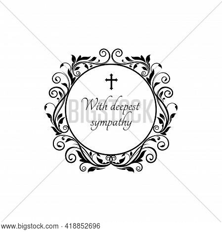 With Deepest Sympathy Message On Gravestone With Vintage Flower Ornaments And Crucifix Cross. Vector