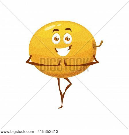 Melon Fruit On Pilates, Healthy Food In Fitness And Sport Activity, Vector Cartoon Character. Happy