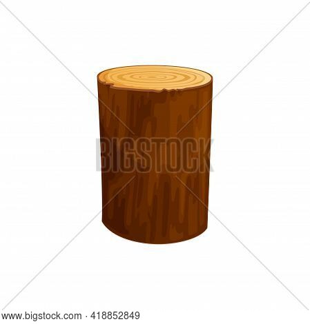 Circle Of Log, Cross Section Of Firewood Or Heartwood Timber Trunk Isolated Flat Cartoon Icon. Vecto