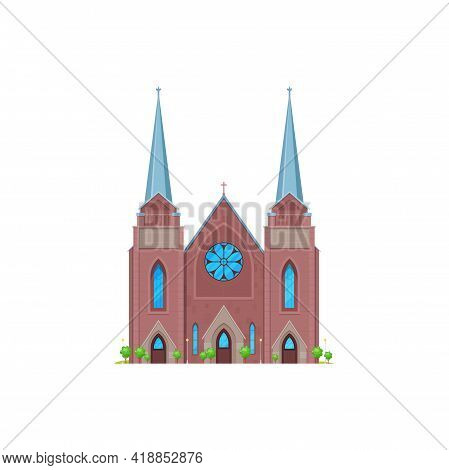 Cathedral Or Church, Medieval Ancient Temple Or Chapel, Vector Religion Building. Catholic Or Christ