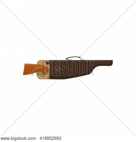 Leather Case For Weapon With Gun Isolated Realistic Icon. Vector Hunting Rifle In Bag With Handle, S