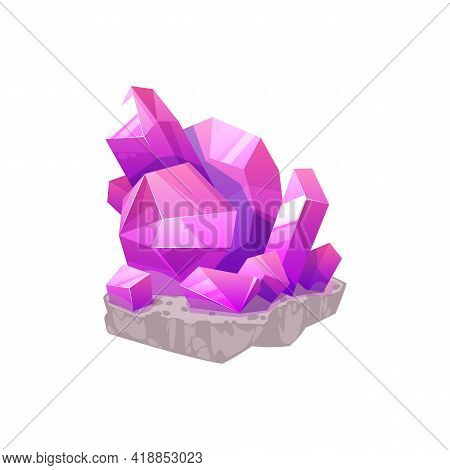 Quarts Pink Gemstone, Purple Mineral Stone Crystal Isolated Cartoon Icon. Vector Jewelry Precious St