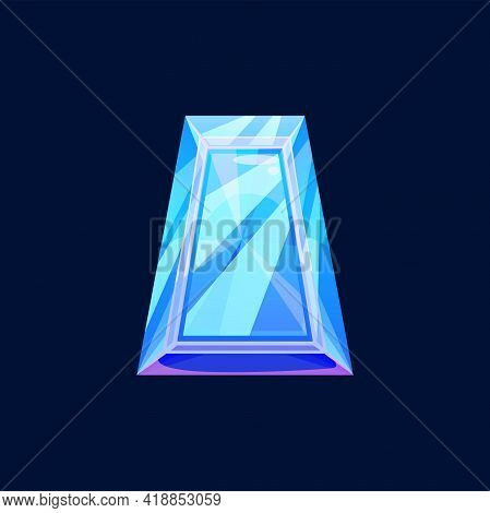Blue Magic Crystal, Faceted Gem Vector Icon, Jewel Rock Of Trapezoidal Shape, Cartoon Glass, Natural