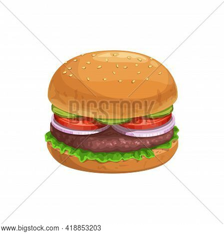 Burger, Fast Food Sandwich Menu Icon, Vector Isolated Street Food Hamburger. Fastfood Restaurant And
