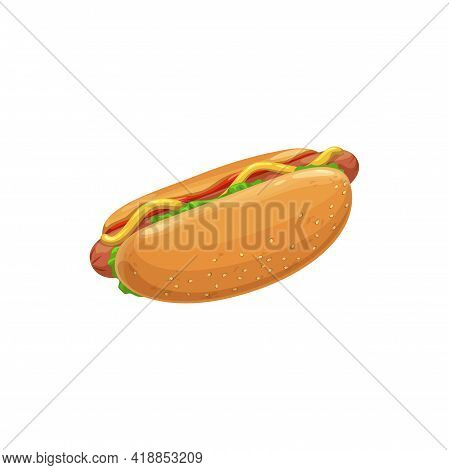 Hot Dog, Fast Food Menu Icon, Sandwich Snack And Street Food Sausage Meals, Vector Isolated. Fastfoo