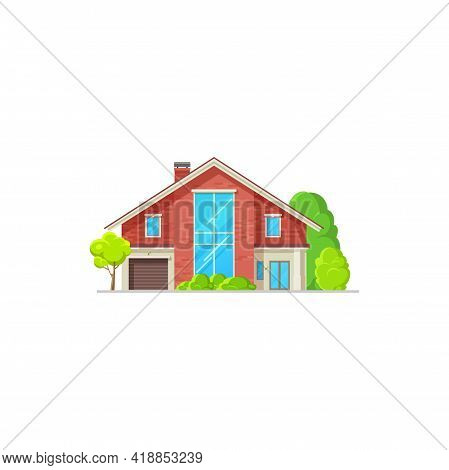 House, Home Building Icon, Villa Cottage, Vector Architecture Property. Modern Real Estate Building,