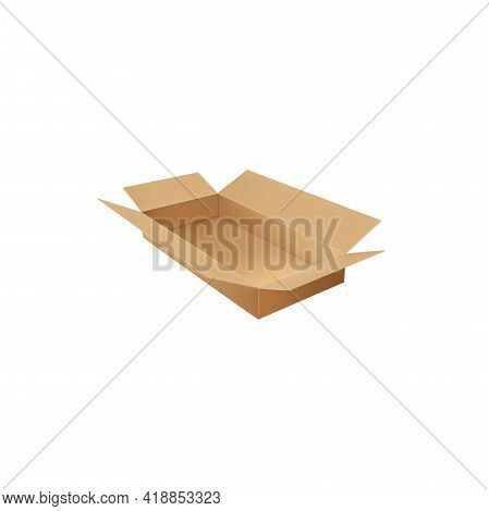 Paperboard Container Isolated Delivery Empty Box Open Packaging. Vector Top View Of Mailing Cargo Pa