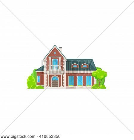 Facade Exterior Of Chalet Building Private House Isolated. Vector House, Contemporary Building Count