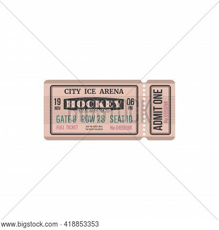 Ticket On Ice Hockey, Admit One On Tournament At City Arena, Gate, Raw Isolated Retro Card. Vector V