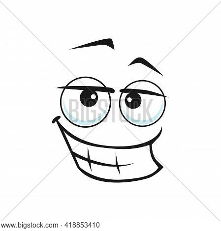 Cartoon Face With Wide Lustful Smile, Vector Ogle Facial Expression. Isolated Funny Character Flirti