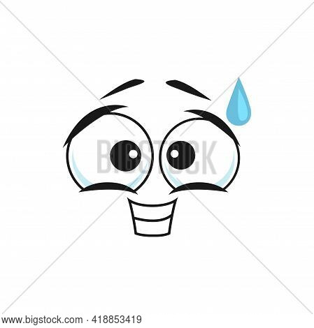Cartoon Sweating Face Vector Smile, Guilty Or Hangdog Emoji, Funny Smiling Facial Expression With Dr