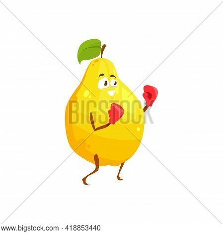 Cartoon Pear Or Quince Fruit Sportsman Vector Icon, Funny Character In Boxing Gloves Doing Sport Exe