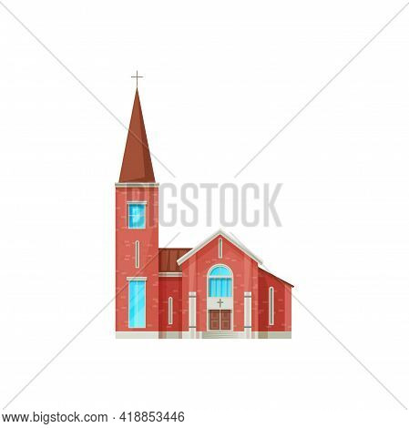 Catholic Church Building Vector Icon. Cathedral Of Red Brick With Cross On Steeple, Gothic Chapel Or
