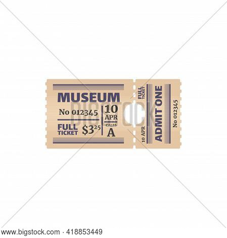 Retro Full Ticket To Museum Isolated Coupon Card With Price, Date And Class. Vector Raffle Coupon, S
