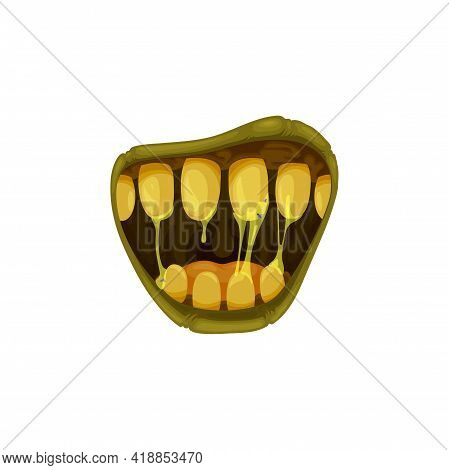 Monster Mouth Vector Icon, Creepy Zombie Or Alien Roar Jaws With Yellow Teeth With Gooey Saliva And