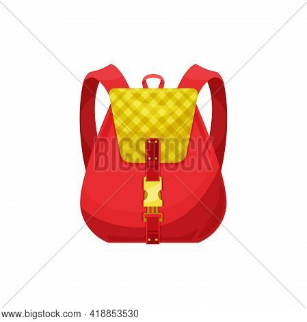 Kids Schoolbag Isolated Vector Icon, Red Cartoon School Bag With Checked Print And Gold Clasp. Stude