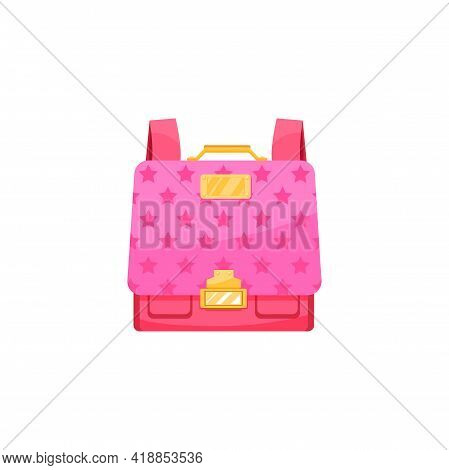 Kids Schoolbag Isolated Vector Icon, Cute Cartoon Pink Haversack For Girl Student With Stars Pattern